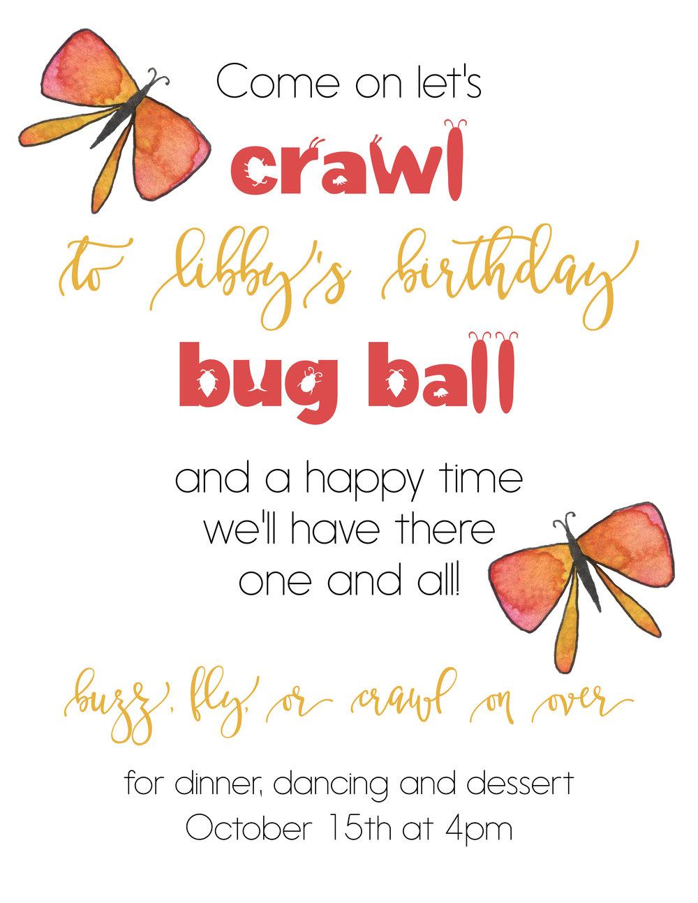 Bug Ball Custom Birthday Invitation