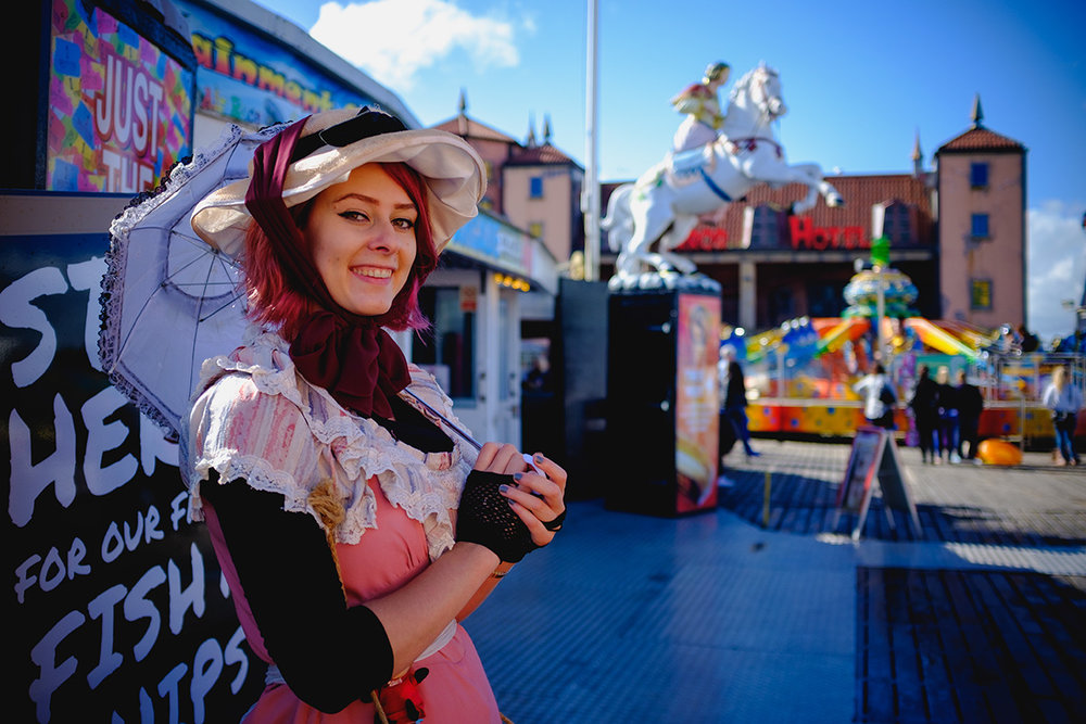 I saw a lot of people dressing up in Brighton Pier. She was kind enough to let me take her photo.