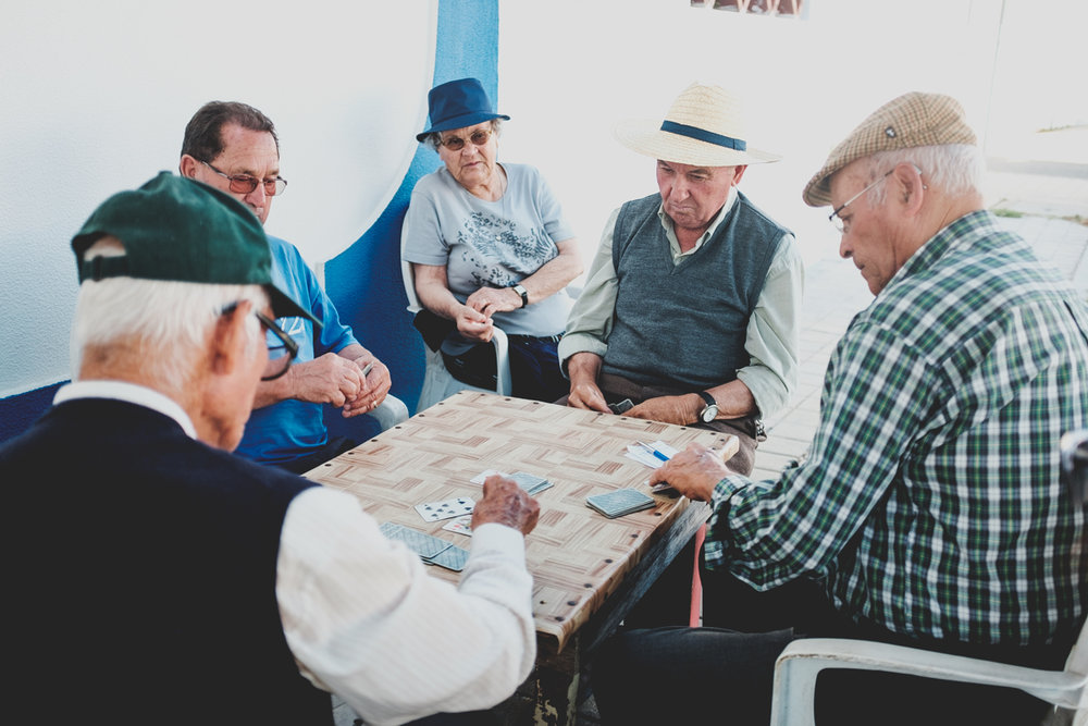 Local playing Bisca. A traditional Portuguese card game.