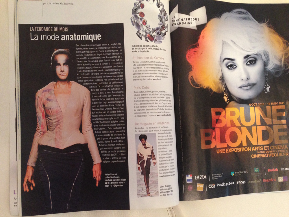 Beaux Arts magazine October 2010. Jean-Luc Sanhes's contribution to Julien Fournié's haute couture show in Paris