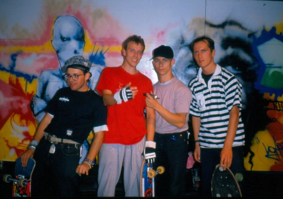 Street art performance during his skateboarding years at the Hot Point rock festival in Lausanne (Switzerland) in 1988 with, from left to right:  Olivier Megaton (Olivier Megaton was the Director of movies Transformer 3, Taken 2 and Taken 3) graffiti; Christian Bastien, skateboarding; Epsilon (tagging pioneer in France),graffiti; Jean-Luc Sanhes skateboarding.