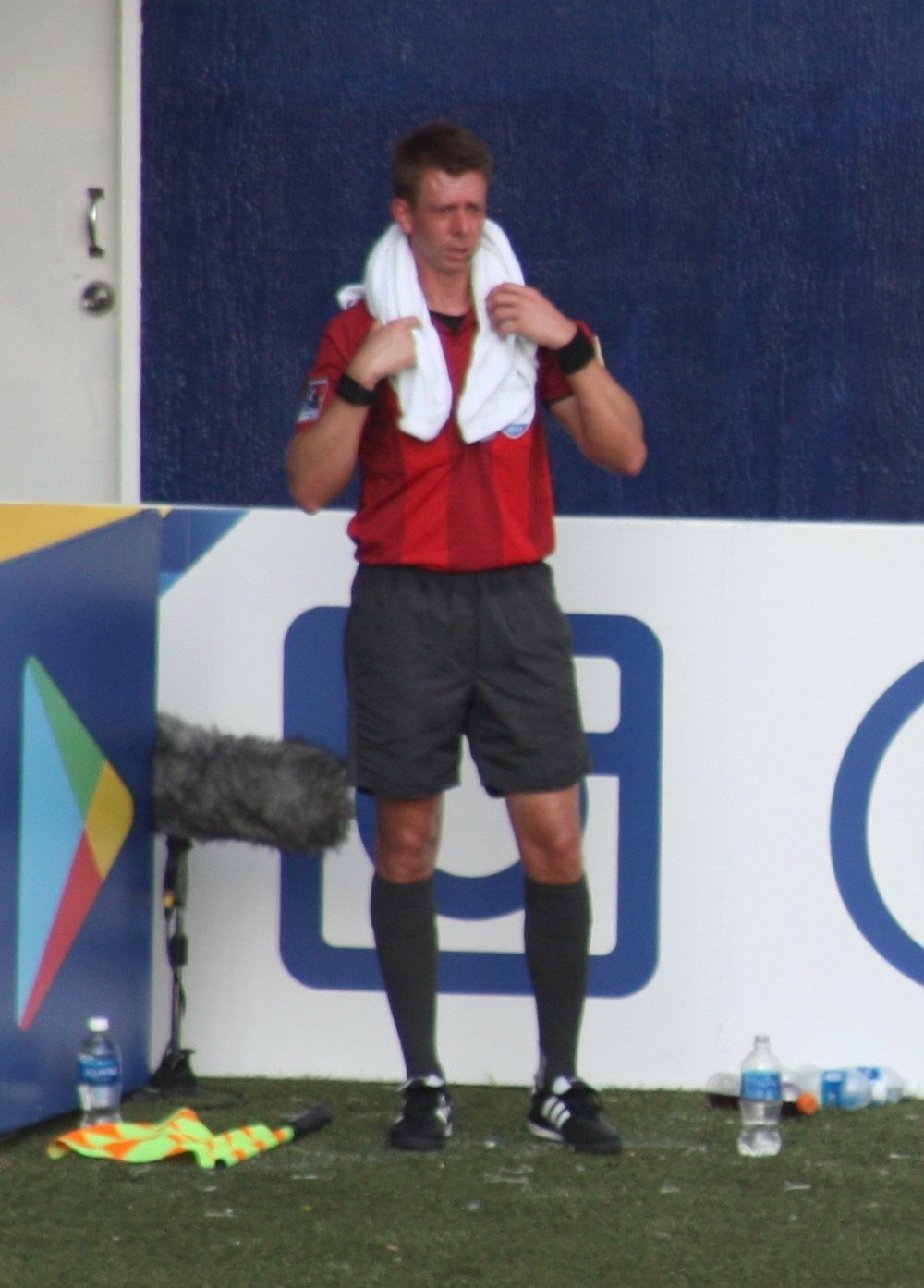Richard Gamache during the mandatory water break for a 3:00pm match in Panama.  90+ degrees, plus humidity.