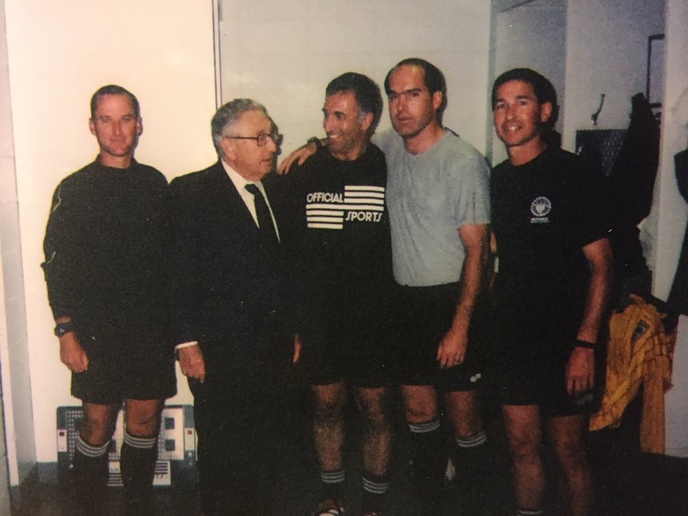In recognition of Kevin Stott refereeing his 300th MLS regular season match last week we dug deep into the photo vault to find this shot.  There is over 1,000 MLS regular season games in this pic.   Fun Fact: Henry Kissinger never refereed in MLS.