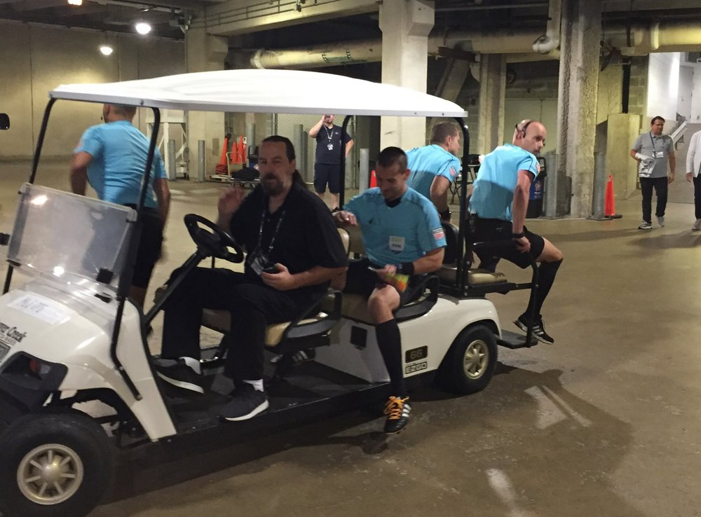 All Star glamour. The All-Star crew get a ride from their locker room to the location of the walk-out at Soldier Field.