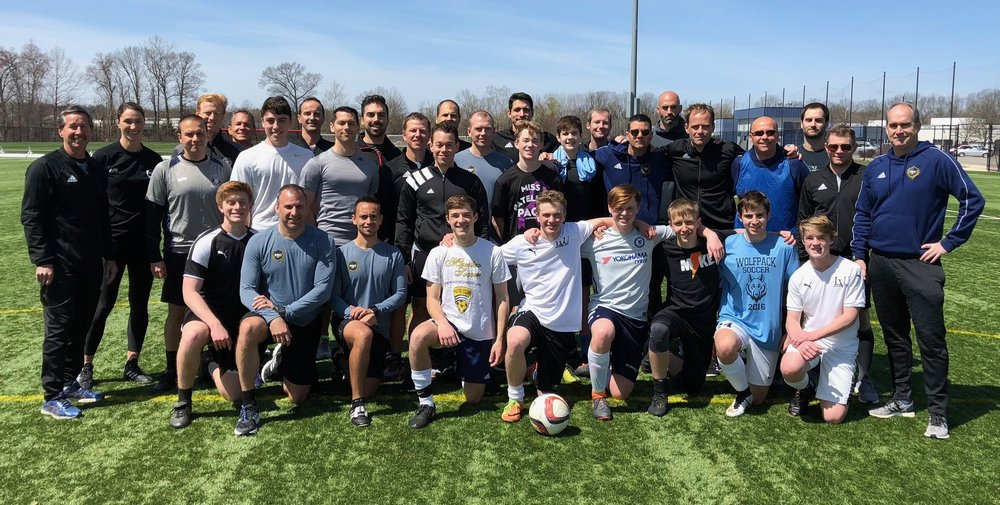 PRO Assistant Referees and players pose after completing the field exercises at the AR East Coast training session.