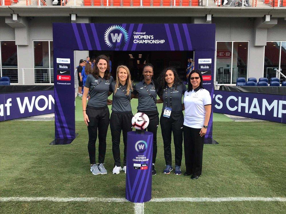 Katy Nesbitt and Felisha Mariscal representing PRO ARs at the CONCACAF Women's Championship.