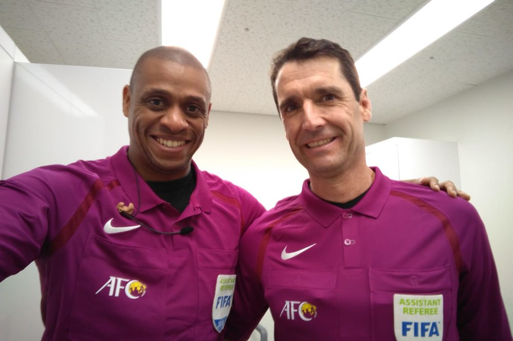Joe Fletcher and Frank Anderson representing Canada, USA and PRO assistant referees in South Korea for the AFC Champions League Semi-final between Suwon Samsung v Kashima Antlers. Anyone else want to bring back the fuchsia uniforms?