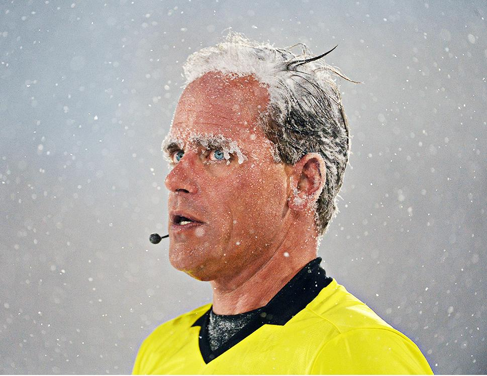 PRO AR Brian Poeschel during Colorado v Portland. Coldest match in MLS history. Would have probably killed the average AR….(photo courtesy gwephoto)