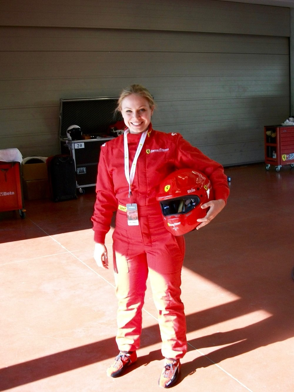 In my fire suit, ready for racing!