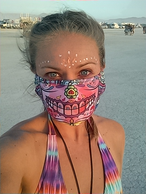 Wearing my own respiratory mask brand on the playa at Burning Man in Black Rock City