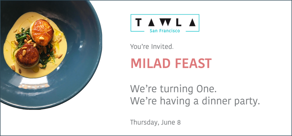COME JOIN THE CELEBRATION. On June 8, we turn 1. So we're throwing a dinner party to celebrate this amazing year we've had. And we'd love it if you could join! We'll be serving a Milad Feast, celebrating a year of Eastern Mediterranean delights.  We promise you a spectacular night! Starting at 6:30, there'll be cocktails and hors d'oeuvres created especially for this evening, and a 4-course peak-season feast. Dishes include early summer produce, seafood and meats expressed through our extensive bread service, cold and warm mezes, large format Ilnas, and dessert.  The Milad Feast menu is $68 per person. You can reserve your spot on Resy today!