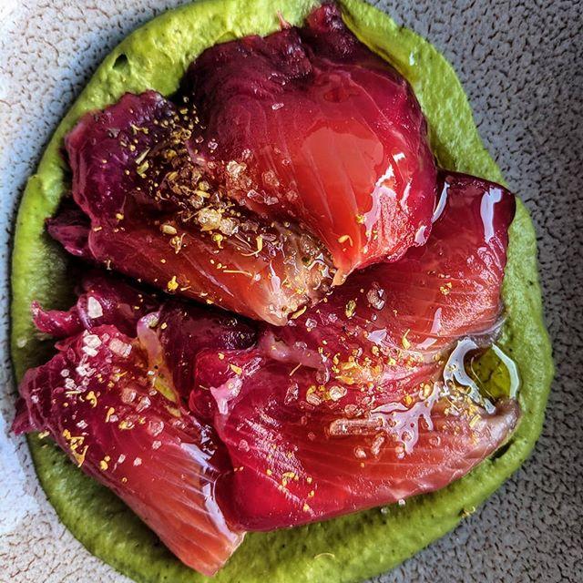Mount Lassen trout dry cured with beetroot, fennel pollen, pistachio puree.