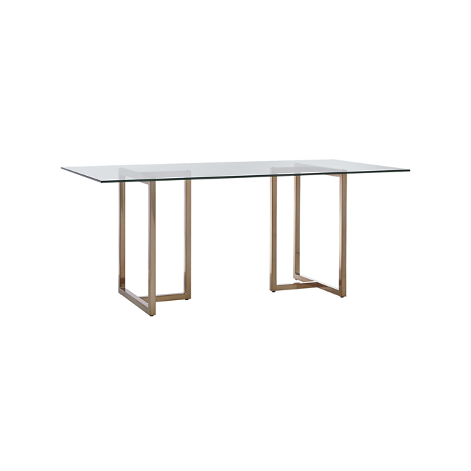 Glass + Brass Dining Table