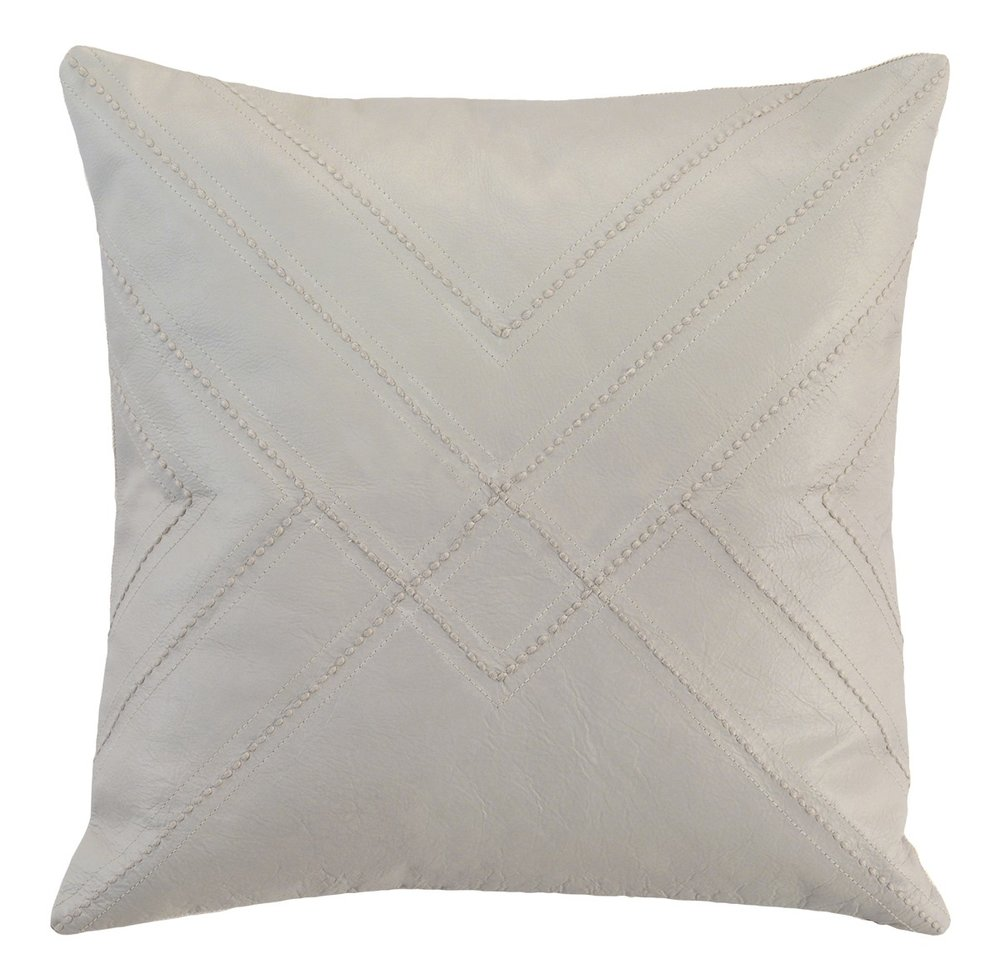 Hemstitch Leather Pillow