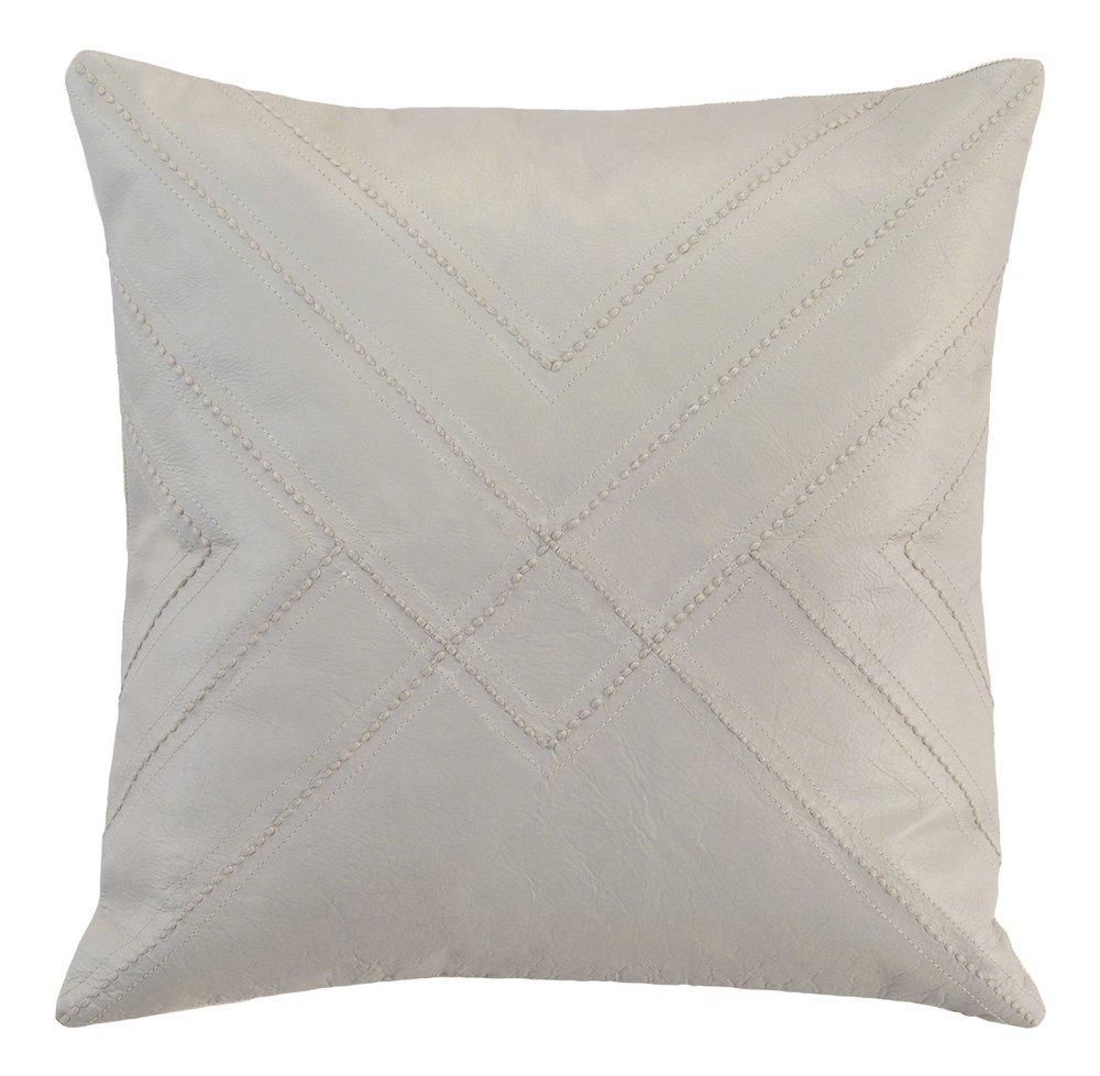 Hemstitch Leather Pillow