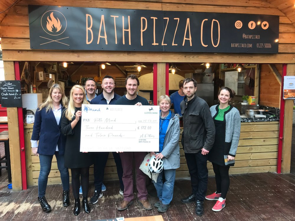 Hannah Roper and the Bath Mind team with Olympian Ben Fletcher and Alex Peters (Bath Pizza Co)