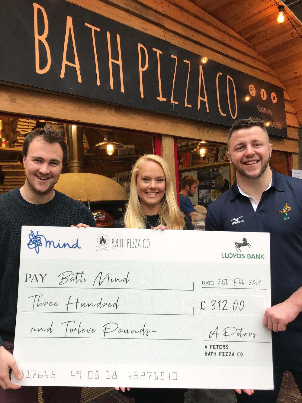 Left to right: Alex Peters (Bath Pizza Co), Hannah Roper (Bath Mind), Ben Fletcher (Olympic Judoka)