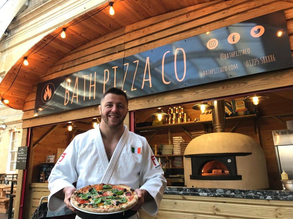Ben Fletcher launches the Judoka pizza at Bath Pizza Co last summer