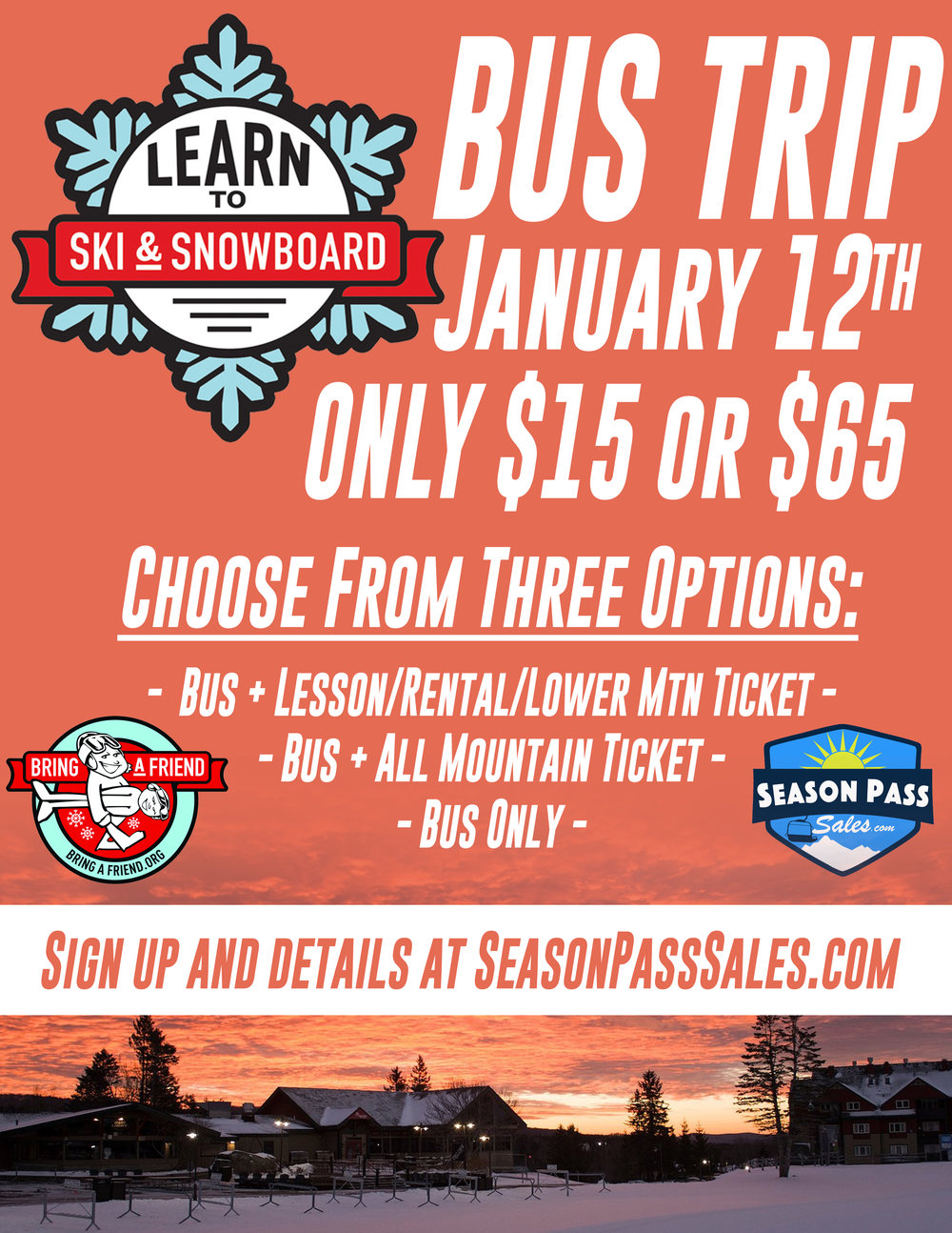 LSSM  Learn to ski and snowboard month Mount Snow Bus Trip Peak Pass Drifter