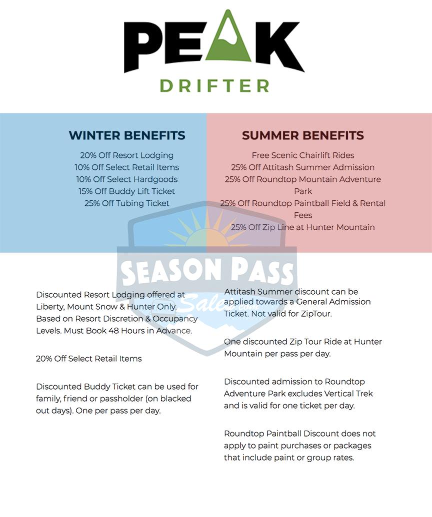 Peak Pass Drifter Benefits 2019/2020