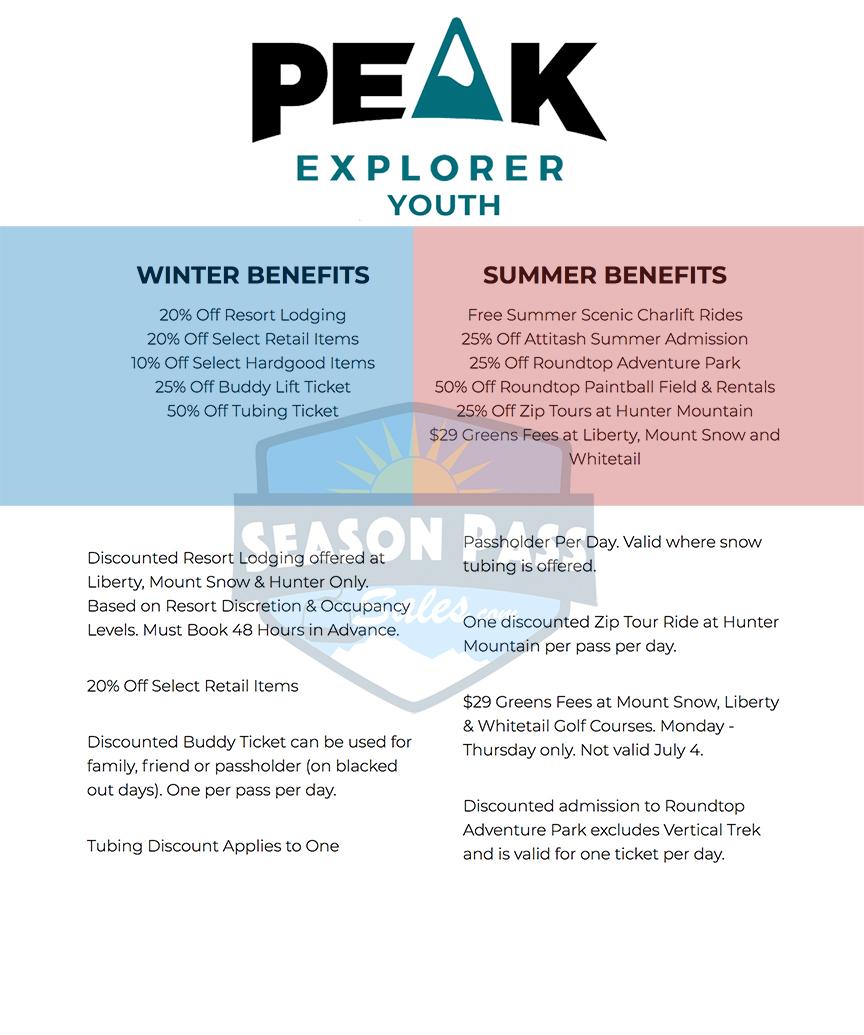 Peak Pass Explorer Benefits 2019/2020 (Youth))