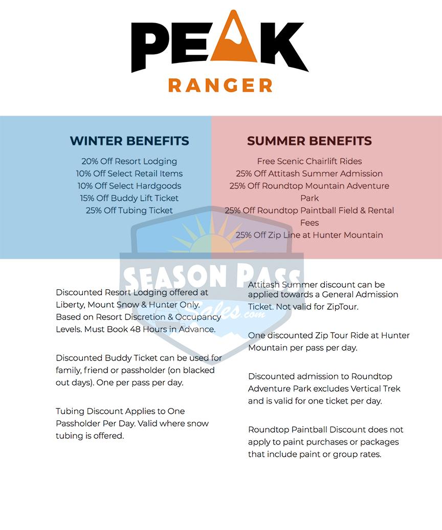 Peak Pass Ranger Benefits 2019/2020