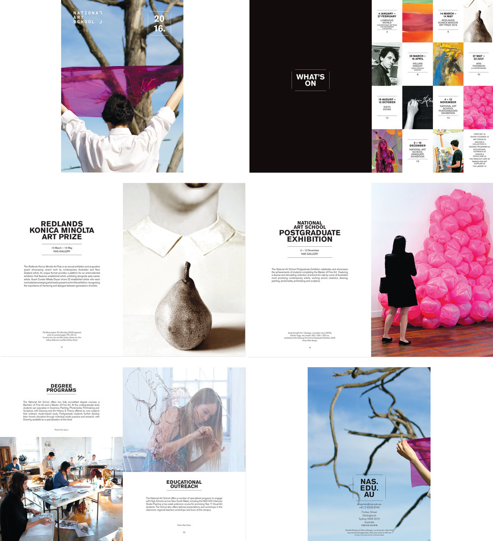 client  National Art School    project  What's On | brochure