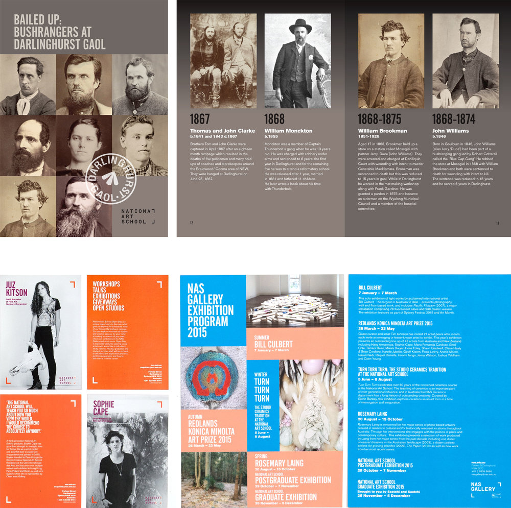 client  National Art School    projects  Bailed up: Bushrangers at Darlinghurst Gaol brochure | Alumni promotional postcards | NAS Gallery Exhibition Program