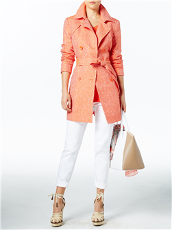 "A ""bubble"" pattern adds fun to this coat that looks equally great dressed up or down. In Sunset (shown) and Twine. $795."