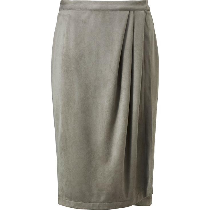 WRAP SKIRT IN KHAKI (SHOWN); ALSO AVAILABLE IN NATURAL AND OLIVE. $49.90.
