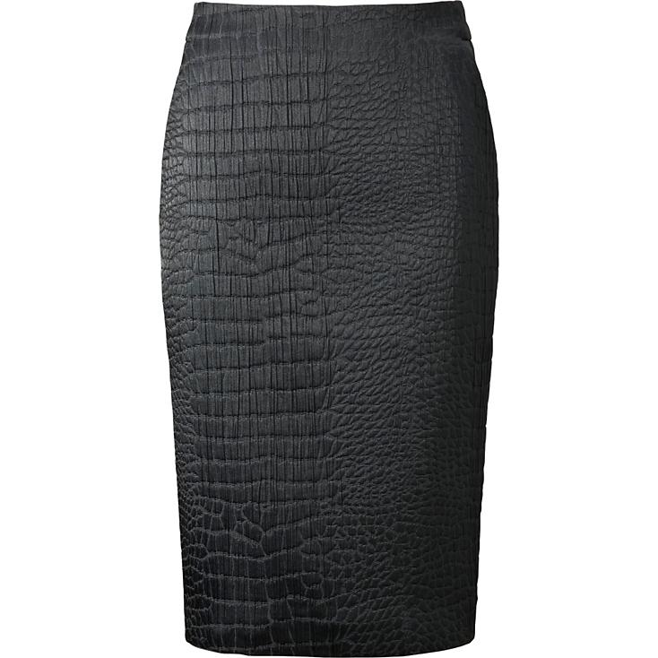 BLACK JACQUARD PENCIL SKIRT WITH A CROCODILE DESIGN, $49.90.
