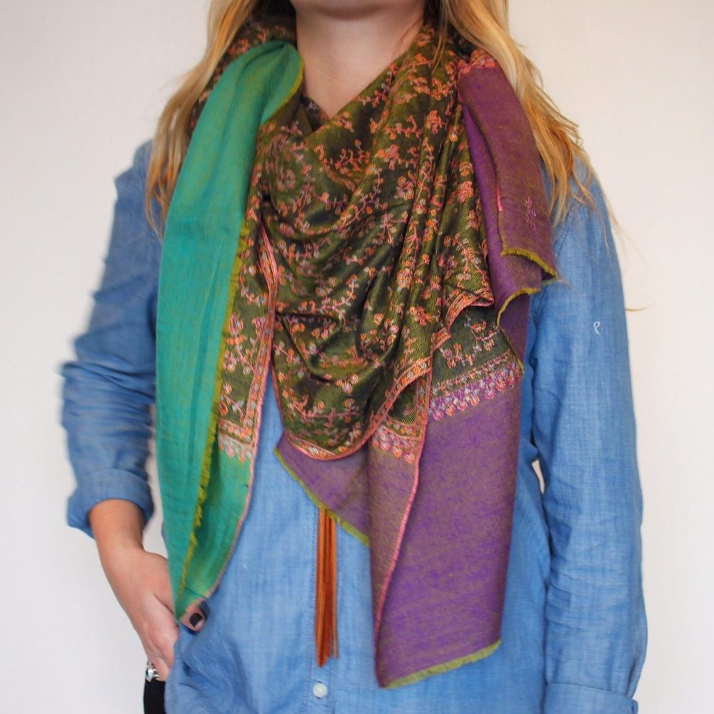 Handcrafted Yaser Shaw shawl,$1200.