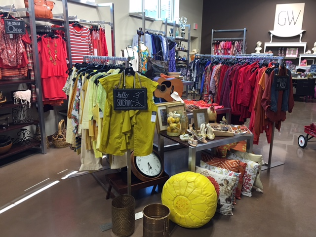 Items at Goodwill's new GW boutique are organized by color in chic displays.