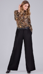 Star Katherine Pant, $295, with Animal Print Ruffle Blouse, $295.