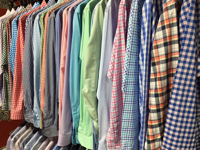 Samples of the array of different custom shirt options at Alton Lane's new Charlotte store.