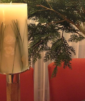 Detail of a Christmas table created by Portia for a client's home.