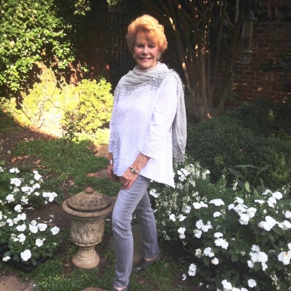 Legendary event designer Sikky Rogers in her garden.