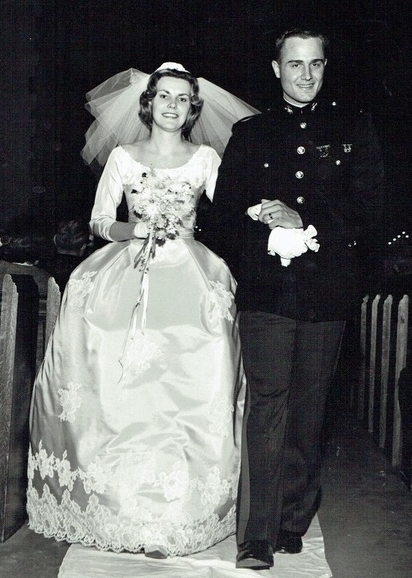 Sikky and her handsome groom in his uniform at their 1962 Marine Corps wedding at Myers Park Methodist Church.