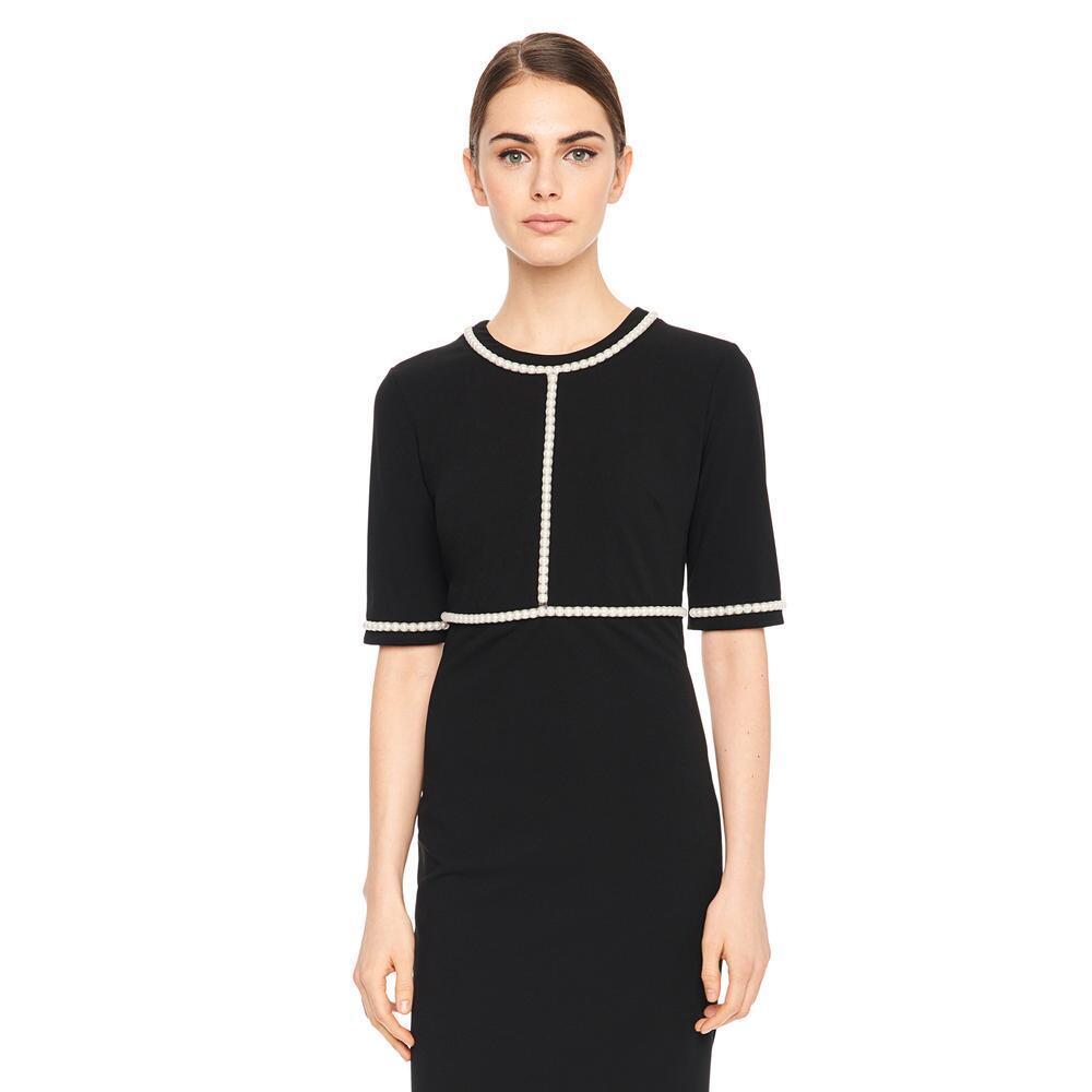 e85ac3e81dc Crepe Sheath Dress With Pearl Trim, $148.