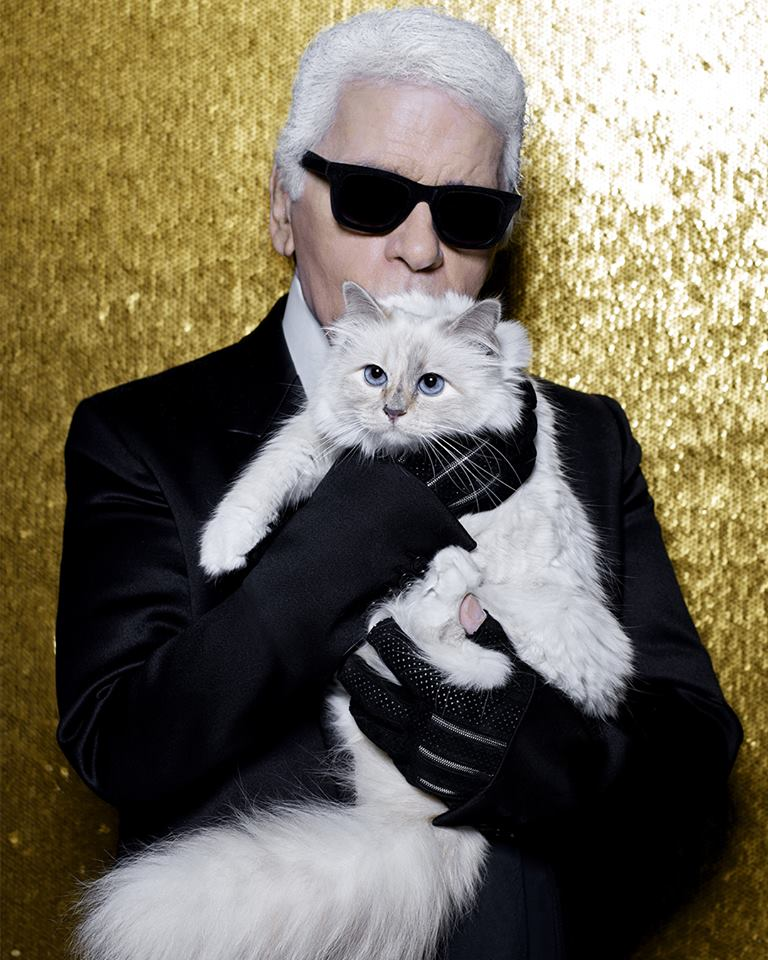 Fashion designer Karl Lagerfeld and his cat, Choupette.