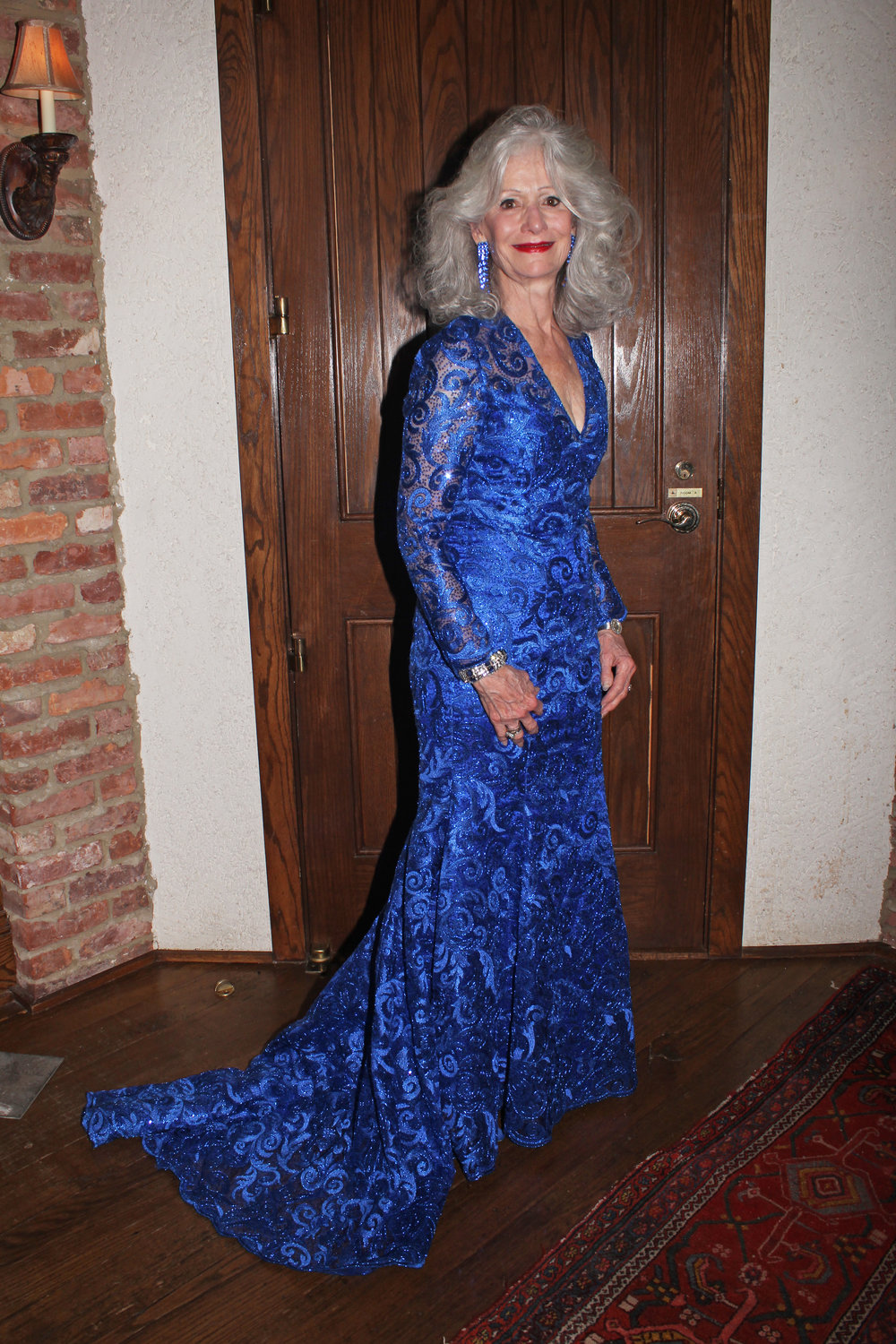 Board member Gail Brinn Wilkins in a custom Luis Machicao gown.