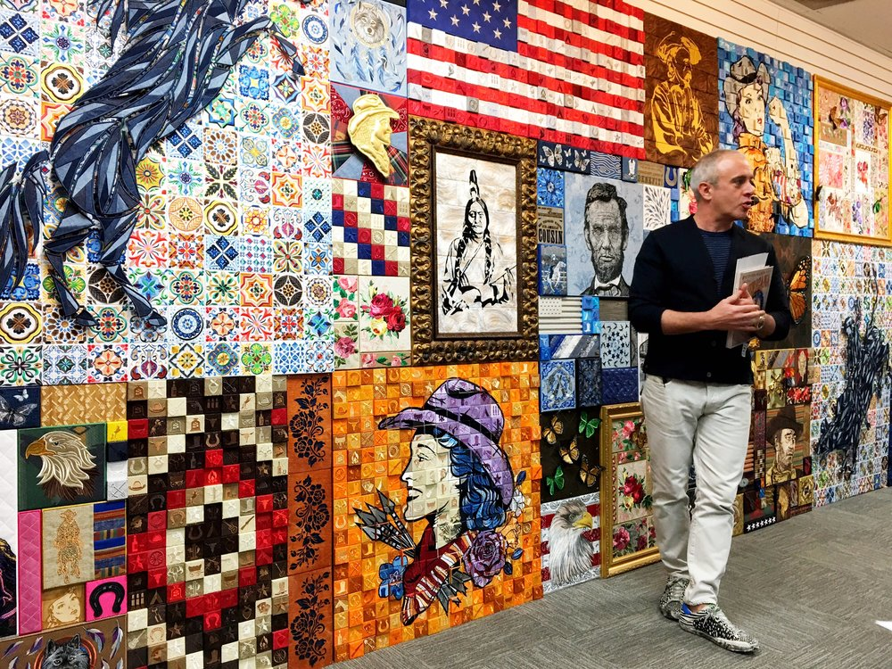 Artist Stephen Wilson in his studio after the April 11 unveiling of his brilliant  Americana  installation.