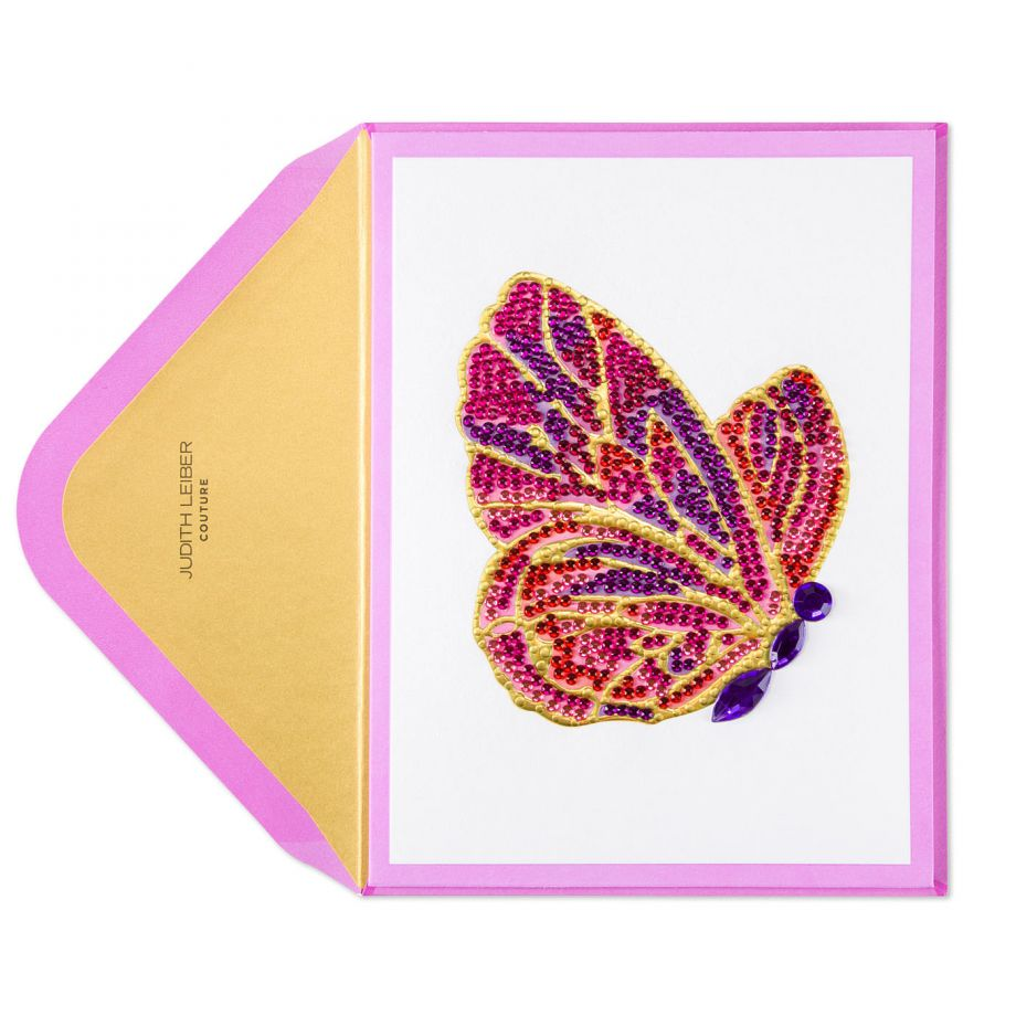 Judith Leiber Couture for Papyrus gemmed butterfly card, $12.95.