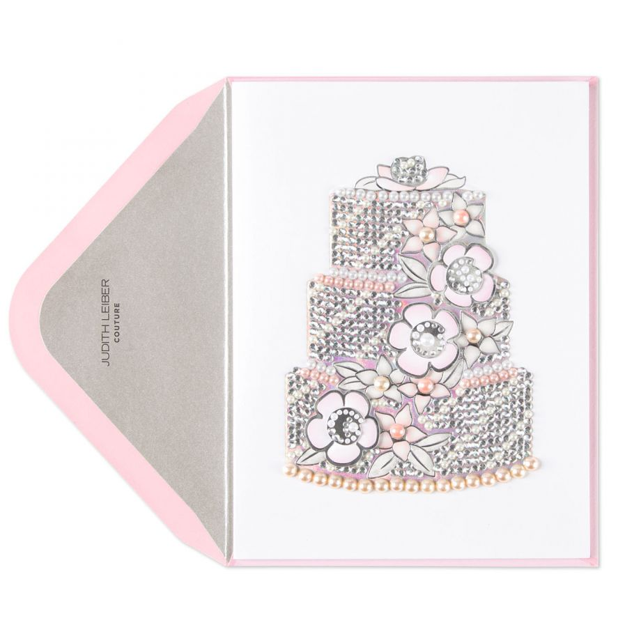 Pink pearl wedding cake card, $16.95.
