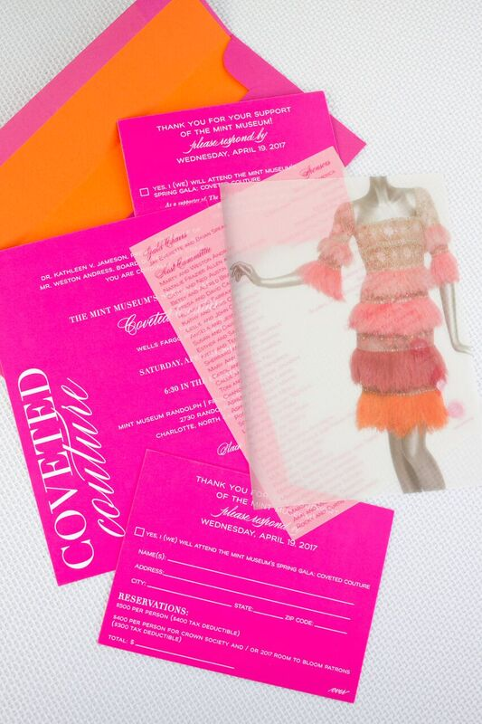 A colorful Valentino fall/winter 2007 cocktail dress was the design inspiration for the invitation and for every creative element of the gala.