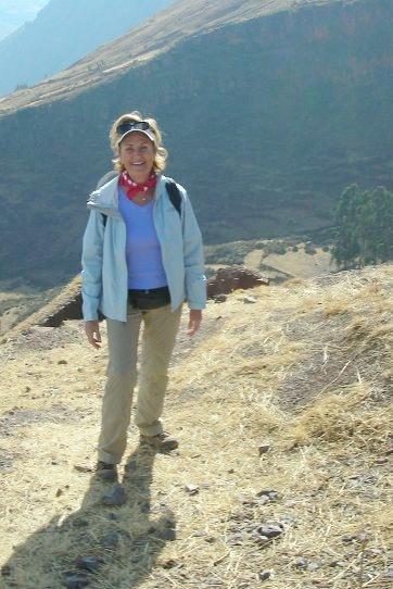 Jill trekking in Peru.