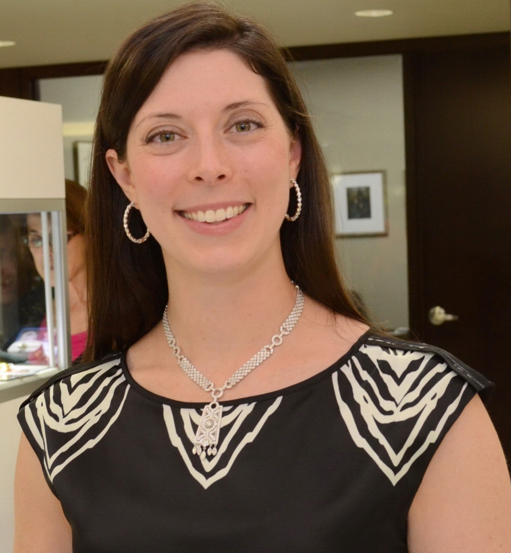 While assisting customers, Hadley Perry Pacheco wore are a stunning one-of-a-kind Art Deco-inspired necklace from the 1970s absolutely dripping with diamonds.