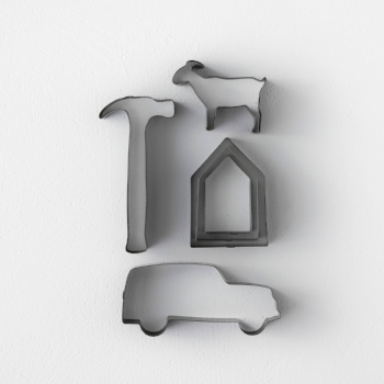 Goat, house, truck and hammer stainless steel cookie cutters, $2.99 each from Hearth & Hand with Magnolia at Target.