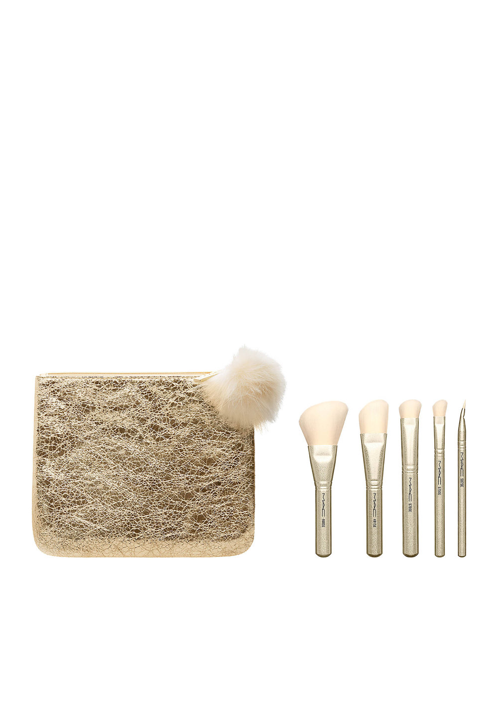 Five brushes (powder/cheek, foundation, large eyeshadow, small eyeshadow and liner)in a foiled gold bag that doubles as a clutch. MAC SnowBall Brush Kit. $49.50. Belk.