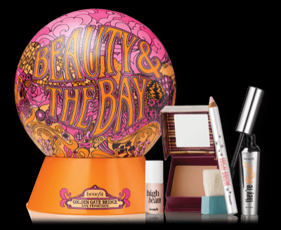 Three full-size products (brow pencil, mascara, bronzing powder) and a mini liquid highlighter all in a reusable retro tin. Beauty By The Bay holiday gift set. $39. Benefit Cosmetics.